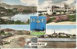 HENDAYE, FRONTIÈRE FRANCO-ESPAGNOLE, VUE GÉNÉRALE, CASINO, PLAGE, FONTARABIE, 2 SCANS - Hendaye