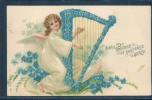 Anges, Bonne Et Heureuse Année, Harpe, - Natale