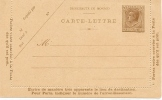 REF LACH - MONACO LUIS II - CARTE LETTRE 50c  BRUN NEUVE STORCH LOU E 1 (1ère JAMBE DU M COURBE) - Interi Postali