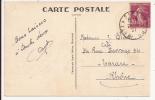 V403 - Ambulant METZ A SARREBOURG - 1937 - Timbre Type SEMEUSE - Verso CONTHIL Monument Militaire - Marcophilie (Lettres)