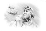 Major Gregory Boyington   -  Portrait Au Crayon Par Benjamin Freudenthal - Aviadores