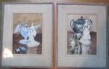2 Aquarelles De W. FOURMAINTRAUX Sous Verre. Manufacture De Desvres - Watercolours