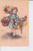 Ravissante Fillette Portant Deux Paniers De Victuailles Et Fleurs Signée Petersen - Petersen, Hannes