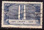 France 1936 1.50 Fr. Bleu Monument De Vimy A La Memoire Des Canadiens Tombés 1914-1918 Yvert  Nr.  317 - Frankrijk