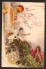Superbe CPA - Art Déco - Pierrot Sur Un Balcon Avec Sa Mandoline Femme Aux Fleurs - CORBELLA  Rare Ecrite 1924 - Pâques
