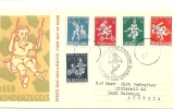 NETHERLANDS 1958 CHILD WELFARE SET OF FIVE ON ILLUSTRATED FIRST DAY COVER USED TO MITTERSIL, SALZBURG, WITH SPECIAL HAND - Periode 1949-1980 (Juliana)