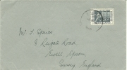 NETHERLANDS 1952 COVER AALTEN TO EWELL. FRANKED WITH 20c STAMP CENTENARY, AALTEN CDS - Periode 1949-1980 (Juliana)