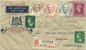 NETHERLANDS 1946 FIRST KLM FLIGHT  REG. COVER TO JOHANNESBURG 6-10-1946 - Transportmiddelen