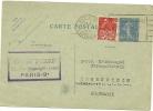 FRANCE 1931 40c POSTCARD, H & G 93, UPRATED WITH 50c COLONIAL EXHIBITION & USED PARIS TO HOHENSTEIN, WITH PARIS RUE HIPP - Postwaardestukken