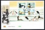 Ireland 2004 Scott #1548a FDC Souvenir Sheet Of 4 Ducks - Tufted, Red-breasted Merganser, Gadwall, Garganey - Eenden