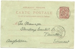 FRANCE 1901 10c POSTCARD, H & G 60, USED PARAME TO TAUNTON, WITH PARAME/ILLE-ET-VILLAINE POSTMARKS. - Postwaardestukken