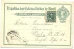 BRAZIL 1912 50r POSTCARD, H & G 32a, UPRATED WITH 50r & USED NOVO HAMBURGO TO BERLIN, WITH INDISTINCT CDS & PORTO ALEGRE - Postwaardestukken