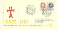 NETHERLANDS 1960 MENTAL HEALTH YEAR SET OF TWO ON ILLUSTRATED FIRST DAY COVER USED TO ST. POELTEN, AUSTRIA, WITH SPECIAL - FDC