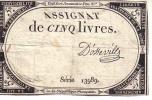 Assignat De 5 Livres, Série 13989, Signature D'Osseville - Assignats