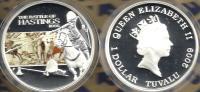 TUVALU $1 BATTLE OF HASTING 1066 HORSE ENGLAND COLOURED FRONT QEII BACK 2009 SILVER PROOF READ DESCRIPTION CAREFULLY !!! - Tuvalu