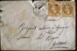 FRANCE Paire 28A  (N° Yvert) Sur Lettre . Cachet A Date PARIS 14 Avril 1869.  Cachet Etoile, Sur La Valeur De Gauche - Poststempel (Briefe)