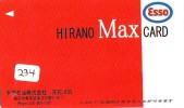 Télécarte Japon *  Publicité Pétrole Essence ESSO (234) Phonecard Japan Petrol Station * Telefonkarte * - Petrole