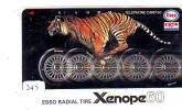 Télécarte Japon *  Publicité Pétrole Essence ESSO (245) Phonecard Japan Petrol Station * Telefonkarte * TIGRE * TIGER - Petrole
