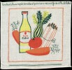 Serviette Publicitaire En COTON - HUILE CALVE - Carottes, Choux, Tomates....sont Faits à L´Huile CALVE - Servilletas Publicitarias