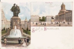 SALUT DE BRUXELLES 5148 CARTE DESSIN DEUX VUES PLACE ROYALE ET MONUMENT DES COMTES - Non Classés