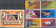 2314 Fauna Horses Umm Al Qiwain 6+S/s Set MNH ** - Horses