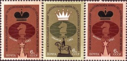 USSR Russia 1982 Int World Chess Championships Game Horse Sports Echecs Tower Stamps MNH Michel 5209-5210 5215 - Chess