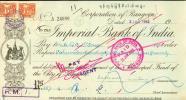 Corporation Of Rangoon - Imperial Bank Of India, BURMA 1952, With Stamp! - Myanmar (Burma 1948-...)