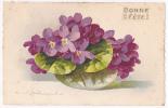 Carte Fantaisie Illustrée Par C Klein - Bouquet Violettes Coupe En Verre(Bonne Fête)- A Circulé Sans Date Timbre Arraché - Klein, Catharina