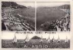 ALASSIO SAVONA LIGURIA MULTIVEDUTE VG 1957 AUTENTIQUE ORIGINALE D´EPOCA 100% - Savona