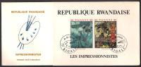 RWANDA 1980 FDC - Edgar Degas, Gauguin Paintings, Miniature Sheet On First Day Cover - Rwanda