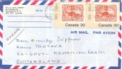 Canada 1982 Air Mail Cover To Switzerland With Pair Of 30 C. SOS Beaver - Stamps On Stamps