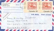 Canada 1982 Air Mail Cover To Switzerland With Pair Of 30 C. SOS Beaver - Francobolli Su Francobolli