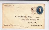 """1897 - ENVELOPPE ENTIER POSTAL Avec REPIQUAGE De BOSTON Pour BERLIN Par SS """"UMBRIA"""" - MARITIME"""