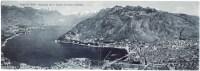 Lago Di Como, Panorama 1° Bacino Con Como E Brunate, Cartolina Doppia Pieghevole - Como