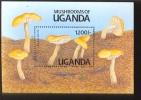 UGANDA  947  MINT NEVER HINGED SOUVENIR SHEET OF MUSHROOMS - Pilze