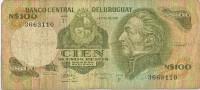 Billete 100 Pesos Nuevos URUGUAY . Serie F,  Artigas - Uruguay