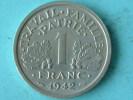 1942 - 1 FRANC / KM 902.1 ( Uncleaned - For Grade, Please See Photo ) ! - H. 1 Franc