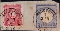 Seltene Mischfrankatur Brustschild Juli 1875! Mit Pfennigausgabe K1 MAGDEBURG - Gebraucht
