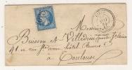 N° 22 BLEU NAPOLEON SUR LETTRE / CIERP HAUTE GARONNE POUR TOULOUSE / 30 MAI 1864 - Marcophilie (Lettres)