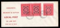 GB 1971 STRIKE MAIL OSBORNE EMERGENCY DELIVERY SERVICE, BELMONT & SUTTON, 2ND ISSUE BLACK ON PINK FDC 22 JAN 1971 - 1952-.... (Elizabeth II)
