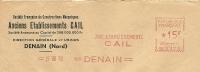 France Firm Cover With Meter Anciens Etablissements (Construction Mechanique) Denain 27-8-1952 - Fysica