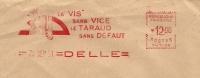 France Firm Cover With Meter La Vis Sans Vice Le Taraud Sans Defaut, Delle 24-9-1951 - Marcofilie (Brieven)
