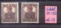 SARRE 1921 YVERT NRS. 21 ET 22 SOLD AS IS RARES - Saar