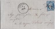 5476# Y&T N° 45B BORDEAUX / LETTRE De RIEUX EN VAL Obl GC LAGRASSE AUDE 1871 T17 Pour LARROQUE D´OLMES ARIEGE - Marcophilie (Lettres)