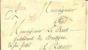 LETTRE  De Franchise De Quimperlé (1760)adressée à Monseigneur Le Bret,intendant De Bretagne - Marcophilie (Lettres)