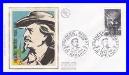 2098 (Yvert) Sur Enveloppe Premier Jour Illustrée Sur Soie - Personnages Célèbres - Frédéric Mistral - France 1980 - 1980-1989
