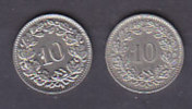 SUISSE - 10 Rappen - 1984 Et 1989 - Suiza