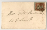 UK - 1854 COVER 1p. RED-BROWN Paper BLUE - Severely Missperforated  -VF COVER - Lettres & Documents
