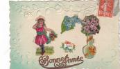 19276 Fantaisie, Bonne Année, Bouquet, Enfant Souvenir Amitié Miosotys, Relief