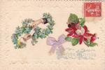 19277 Fantaisie, Bonne Année, Lettre Main Neud Fleur Miosotys, Relief - Nouvel An